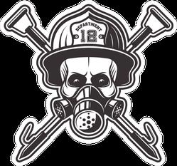 Firefighter Skull In Mask Sticker