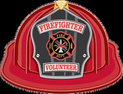 Firefighter Volunteer Helmet Illustration Sticker