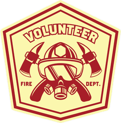 Firefighter Volunteer Logo Badge Sticker
