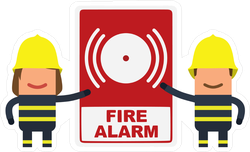 Firefighters Showing A Fire Alarm Sticker