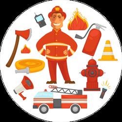 Firefighting Elements Circle Sticker