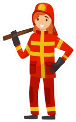 Fireman In Uniform With Axe Sticker