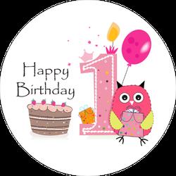 First Birthday Pink Owl Sticker