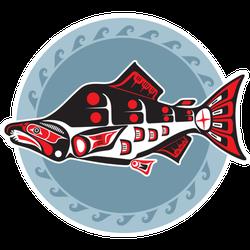 Fish - Salmon - In Native American Style Alaska Sticker