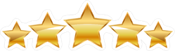 Five Gold Stars Sticker