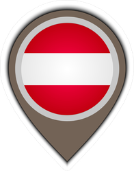 Flag Icon Pin Of Austria Sticker