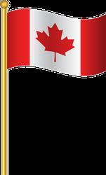 Flag Of Canada Gold Flag Pole Sticker