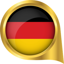 Flag Of Germany In Golden Map Pin Sticker