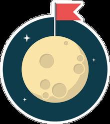 Flag On Moon Sticker