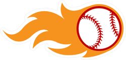 Flaming Baseball Sticker