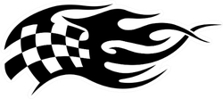 Flaming Black And White Checkered Flag Racing Sticker