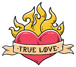 Flaming Heart Tattoo Style Sticker