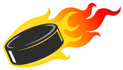 Flaming Hockey Puck Sticker