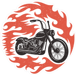 Flaming Hotrod Motorcycle Sticker