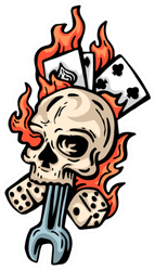 Flaming Skeleton Spade Head And Card Sticker