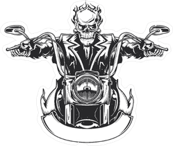Flaming Skull Riding Motorcycle Sticker