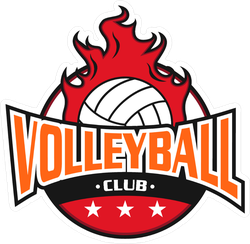 Flaming Volleyball Club Sticker