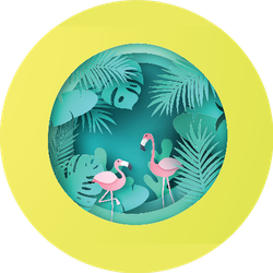 Flamingo Bird Couple With Tropical Forest Background Sticker