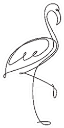 Flamingo Line Drawing Logo Sticker