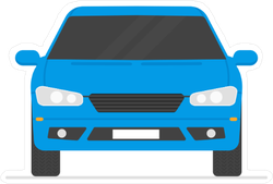 Flat Art Blue Car Sticker