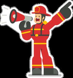 Flat Cartoon Firefighter Bullhorn Sticker