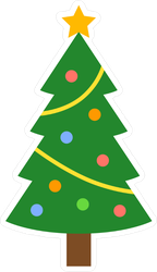 Flat Christmas Tree Sticker