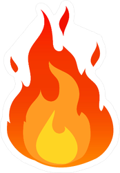 Flat Design Fire Sticker
