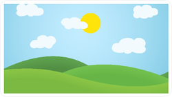 Flat Design Grass Landscape and Sun Sticker