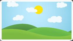 Flat Design Grass Landscape and Sun Sticker