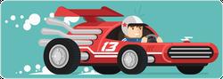 Flat Design Retro Race Driver Sticker