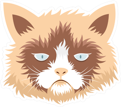 Flat Grumpy Cat Sticker