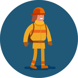 Flat Icon Of A Firefighter Circle Sticker
