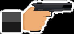 Flat Illustration Hand Holding Gun Sticker