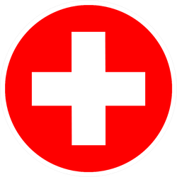 Flat Minimal Medical Cross Icon Sticker