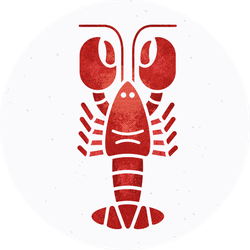Flat Style Lobster Or Crayfish Silhouette Sticker