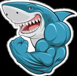 Flexing Muscular Great White Shark Sticker