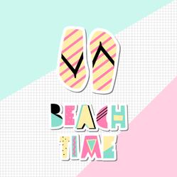 Flip Flops In Pink, Beach Time Sticker