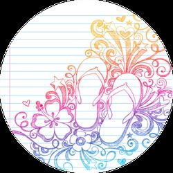 Flip-flops Shoes Tropical Notebook Doodles Sticker