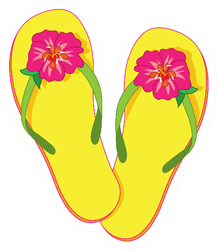 Flip Flops With A Pink Hibiscus Blossom Sticker