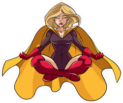 Floating Female Superhero Sitting In Lotus Position Sticker
