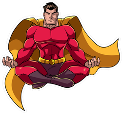 Floating Male Superhero Sitting In Lotus Position Sticker