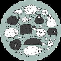 Flock Of Sheeps, Sketch On Teal Sticker