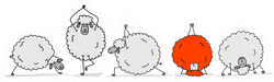 Flock Of Sheeps With One Red, Sketch Sticker