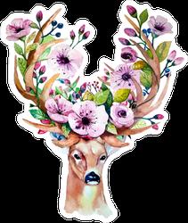 Floral Antlers Deer Sticker