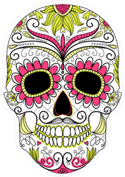 Floral Ornament Day Of The Dead Colorful Skull Sticker