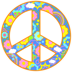 Floral Peace Sign Sticker with Clouds