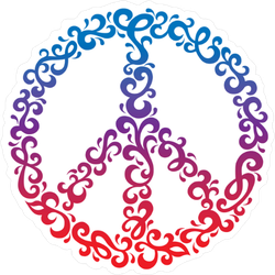 Floral Peace Symbol Sticker