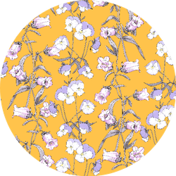 Floral Seamless Pattern With Wildflowers Pansies On Yellow Sticker