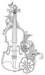 Floral Violin Thin Line Illustration Sticker