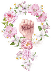 Floral Watercolor Feminism Symbol Sticker